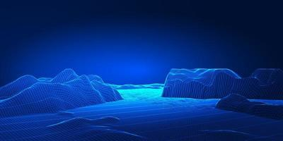modernes Techno Wireframe Landschaftsbanner-Design vektor