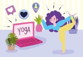 ung kvinna i yoga utgör bärbar dator i rummet