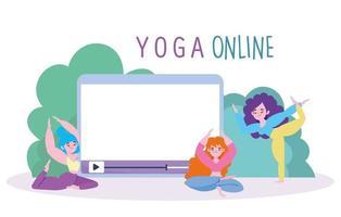 Frauenfiguren mit Tablette, die Yoga praktizieren