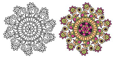 påfågel stil mandala design målarbok vektor