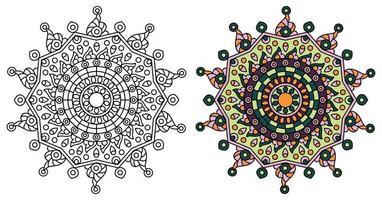 abgerundete Stern Mandala Design Färbung Vorlage vektor