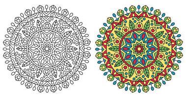traditionell rundad mandala design målarbok vektor