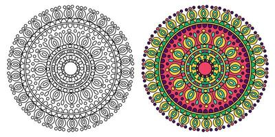 rund gul och grön mandala design vektor