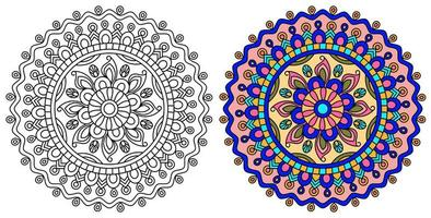 rosa und lila und gelbe Mandala Designvorlage vektor