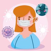 flicka med medicinsk mask tecknad