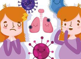 abstraktes Mädchen mit Krankheitssymptomen vektor