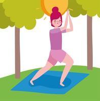 ung kvinna som utövar yoga utomhus vektor