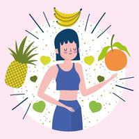 junge Frau mit tropischen Früchten