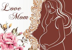 Vektor-Illustration der schwangeren Mama Einladung vektor