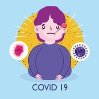 covid 19-viruspandemiplakat med sjuk ung man