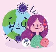 covid 19-viruspandemi med tjej med termometer vektor