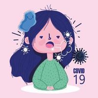 covid 19 virus tecknad med sjuk tjej hosta