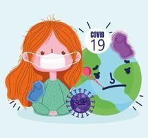 covid-19 Design mit maskierter Frau und Welt mit Thermometer