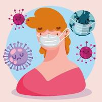 Covid 19 Pandemie-Cartoon mit Person, die Schutzmaske trägt vektor