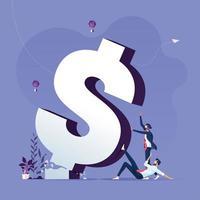 Geschäftsteam drückt gefallenes gebrochenes Dollarzeichen