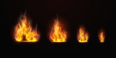 Das virtuelle Flammenset kann von einem transparenten Hintergrund getrennt werden vektor