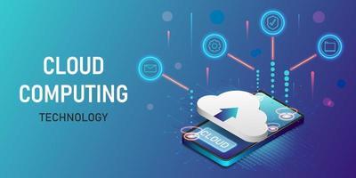 isometrisches Design der Konzept-Cloud-Computing-Technologie vektor