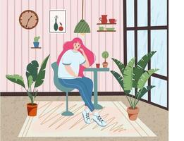 söt flicka som sitter på café vektor