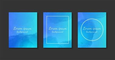 uppsättning blå akvarellkort