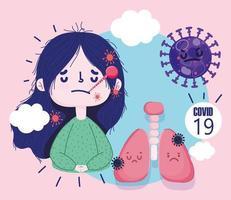 flicka sjuk med termometer