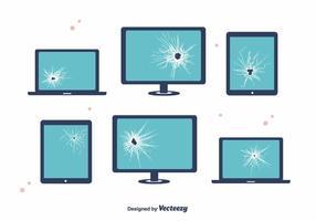Brutna skärmanordningar vektor