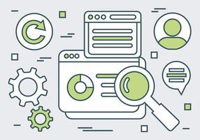 Olivgröna linjära Webbplatselement Vector