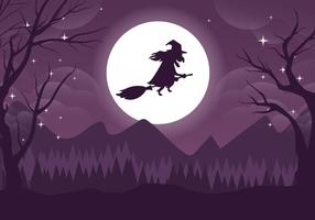 Spooky Witch Halloweeen Vektorillustration