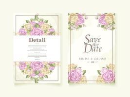 akvarell ros bröllop spara datummallen