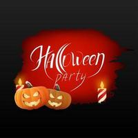 rotes Grunge-Banner der Halloween-Partei mit Kürbissen