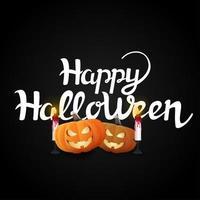 glada halloween pumpor och ljus på svart vektor