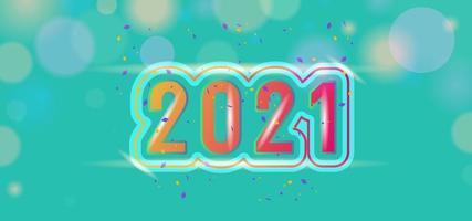 schönes 2021 Banner mit Konfetti auf grünem Bokeh