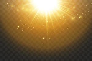 leuchtend goldene Sterne und Linseneffekt vektor