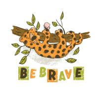 vara modig söt tecknad leopard djur kort vektor