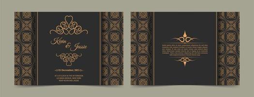 Vintage Gold und Grau Einladungskarte Vorlage vektor