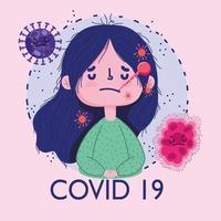 covid 19 pandemisk design med sjuk flicka med termometer i munnen vektor