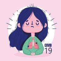 covid 19 pandemikoncept med sjuk tjej med lunginflammation lungor vektor