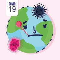 covid 19-pandemi med sjuk planetjorden