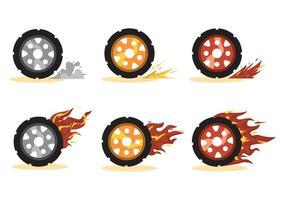 Burnout hjul vektor uppsättning