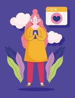 ung kvinna med smartphone romantisk meddelande chat vektor