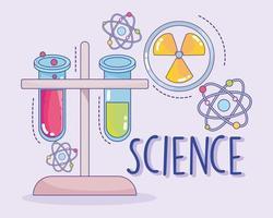 Wissenschaft Medizin Medizin Kernchemie Flaschen und Atomforschungslabor vektor