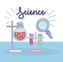 vetenskaps kemi laboratorium kolv och rör grepp stativ analyslaboratorium