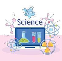 Wissenschaft Laptop Gerät Entdeckung Kolbenmolekül Kernforschungslabor vektor