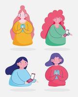 uppsättning kvinnor som använder smartphone-enheter vektor