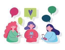 unga kvinnor som använder smartphone chatta sms kärlek