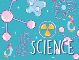 Wissenschaftsmolekül DNA Nuklearmedizin Mikroskop Atom Forschungslabor vektor