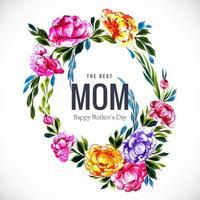bästa mamma blommig ram med blå blad vektor