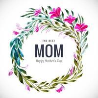 glückliche Muttertagsblumen- und Blattrahmenkarte vektor