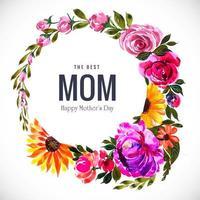 elegant mors dag cirkel ram med färgglada blommor vektor