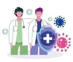 männliche Ärzte und Viren vektor