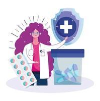 kvinnlig läkare och medicin